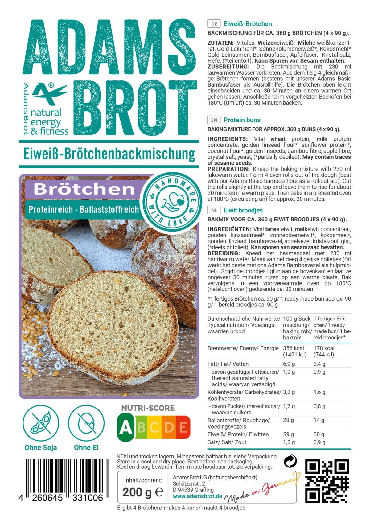 Preparato low carb per panini Adams Brot