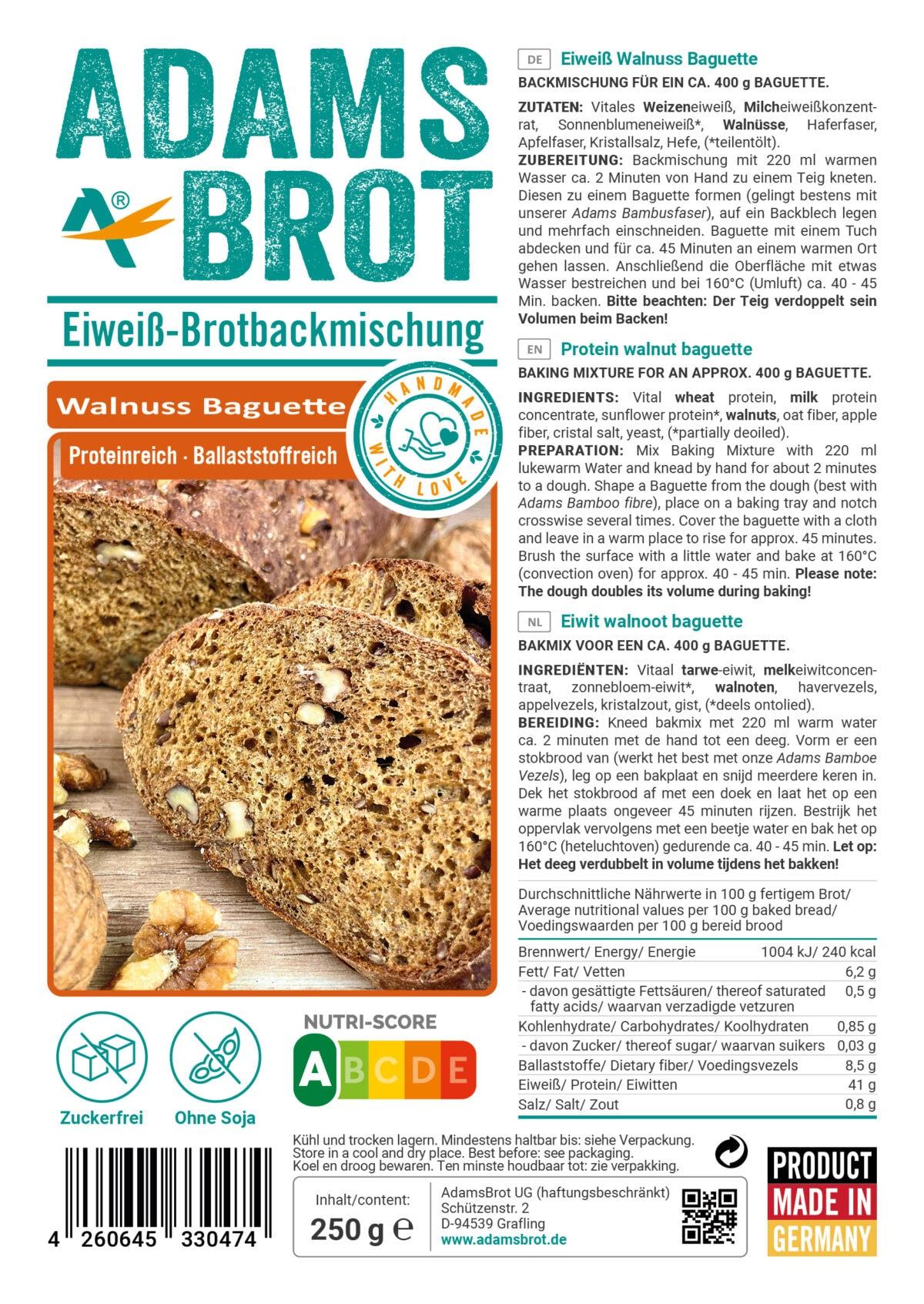 Preparato per baguette low carb